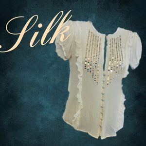 Arden B Blouse Top Silk Gold Sequin Plunging Neck
